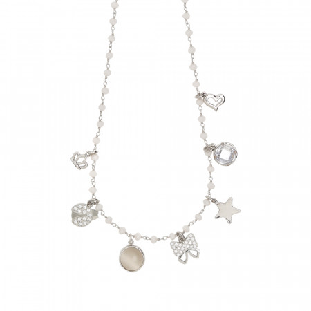 Rosary necklace with powder white crystals and fashion theme charms