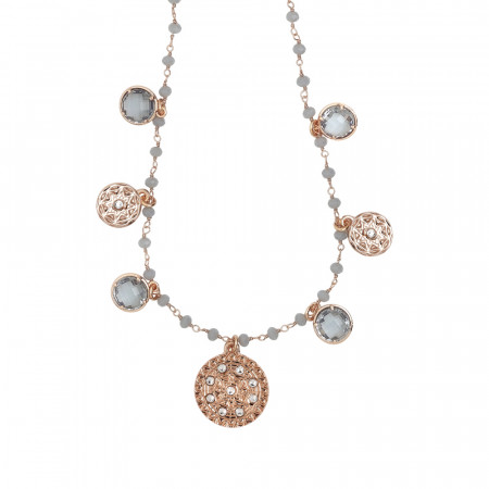 Rosary necklace with fum crystals and ethnic theme charms