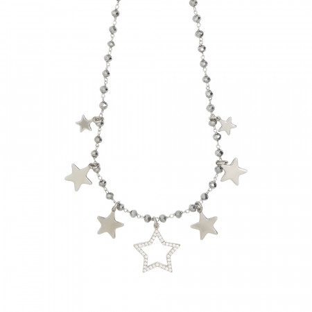 Rosary necklace with silver crystals and star theme charms