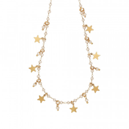 Rosary necklace with powder white crystals and star theme charms