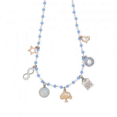 Rosary necklace with blue crystals and family theme charms