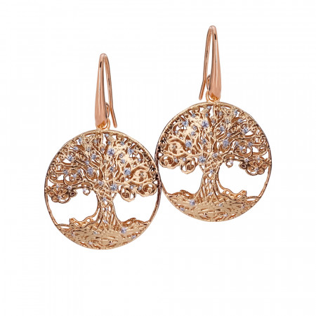 Rose earrings with tree of life in silver glitter