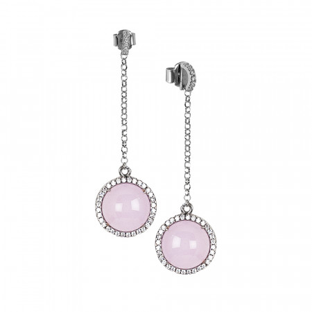 Earrings with cubic zirconia pendant and light pink cabochon