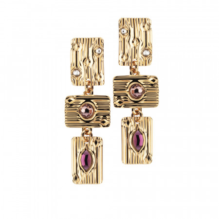 Drop earrings with pink Swarovski