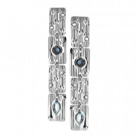 Modular earrings with blue Swarovski