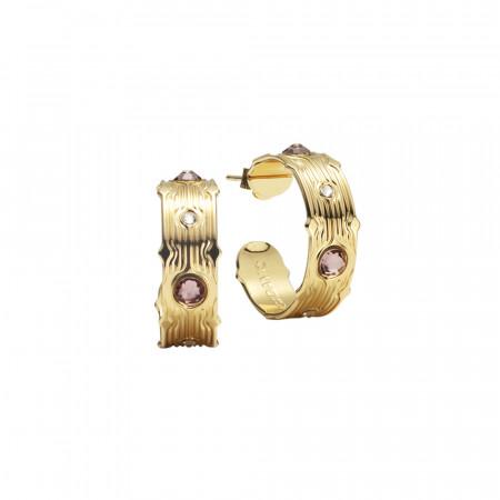 Hoop earrings with pink Swarovski