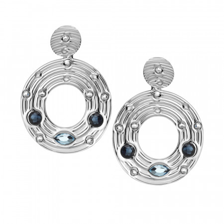 Earrings with circular pendant and blue Swarovski
