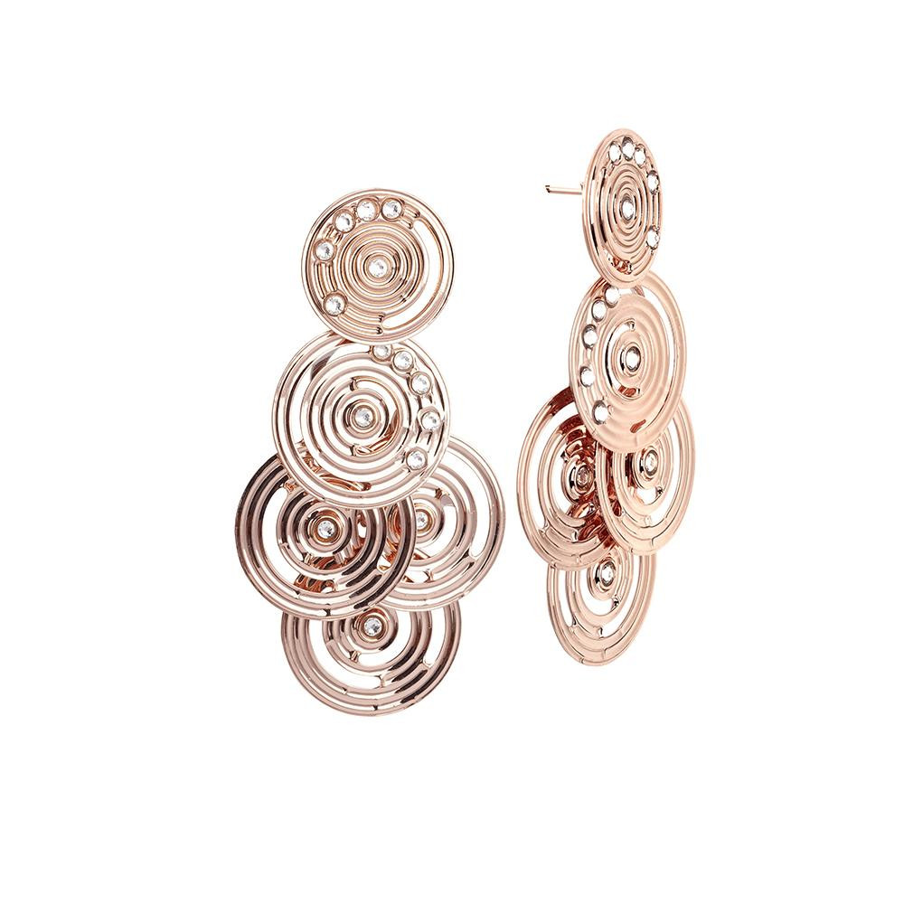 ec82651cc Cer Earrings Gold Plated Pink From Drawing Concentric And Swarovski