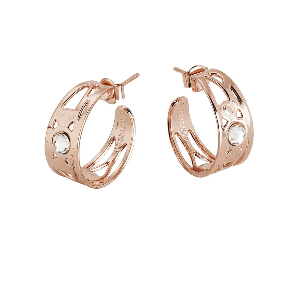 345c3634e Earrings half moon gold plated pink with Swarovski