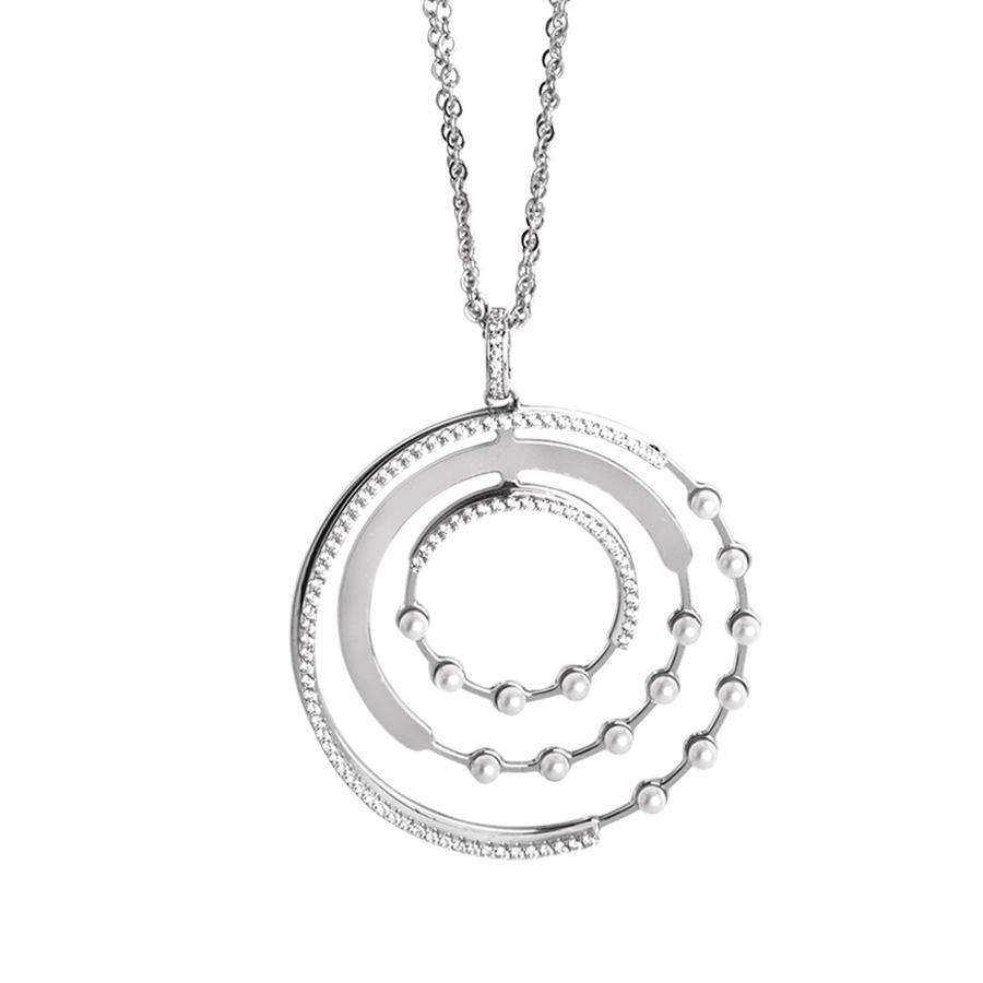 collana doppio filo con orbite di zirconi e swarovski Symbol Electric Unijuncion necklace double wire with orbits of zircons and swarovski