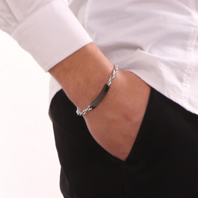 Marine link bracelet with black PVD plate