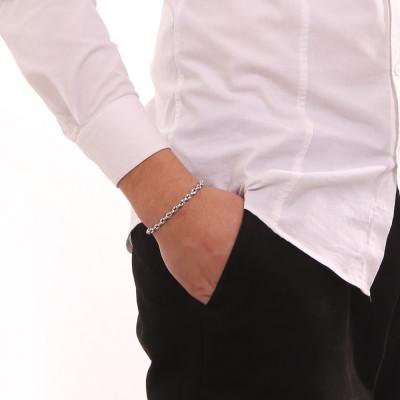 Rhodium-plated marine link bracelet