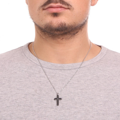 Rol necklace with black Pvd crucifix and white zircon