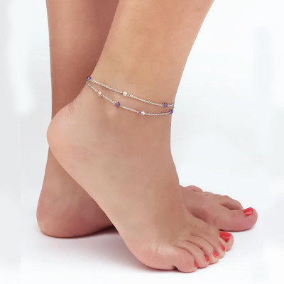 Ankle band double thread with SWAROVSKI amethyst and aurora borealis
