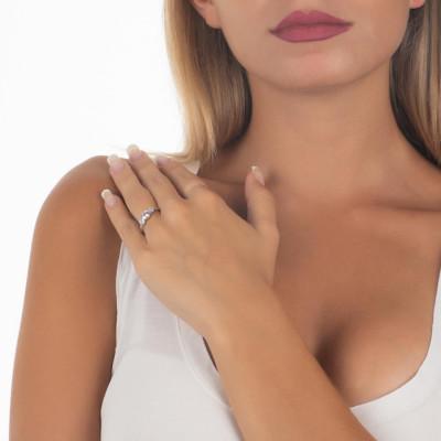 Ring with zircons degradètaglio diamond