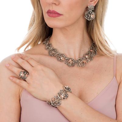 Semi-rigid Marina bracelet with natural pearls