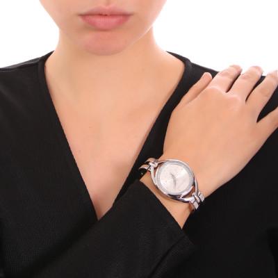 Silver women's time only watch with semi-rigid bracelet and Swarovski