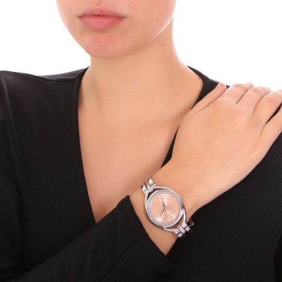 Silver and pink ladies time only watch with semi-rigid bracelet and Swarovski