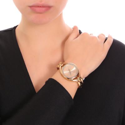 Gold women's time only watch with semi-rigid bracelet and Swarovski