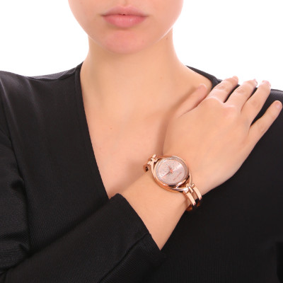 Rose and silver ladies time only watch with semi-rigid bracelet and Swarovski