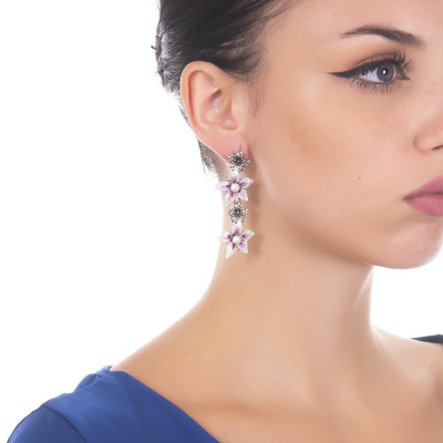 Drop earrings with lilium flowers and natural pearls