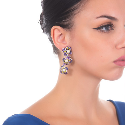 Earrings with iris flowers painted in purple and natural pearls