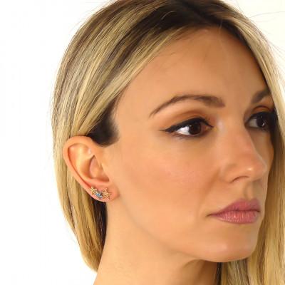 Horizontal stud earrings with light blue starfish