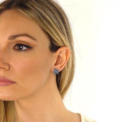 Stud earrings with light blue starfish