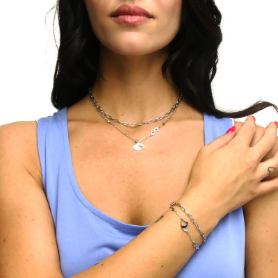 Double strand necklace with heart and infinity