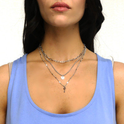 Multi-strand necklace with key and heart-lock