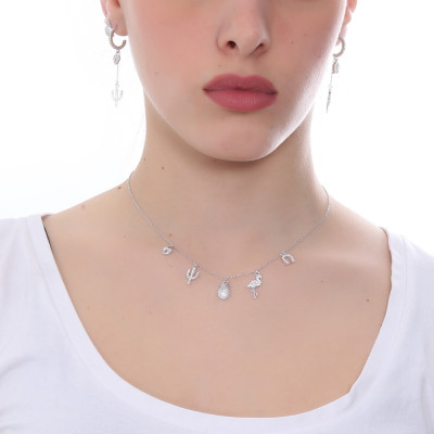 Necklace with exotic-inspired cubic zirconia pendants