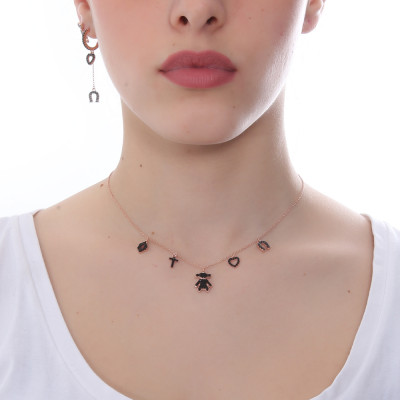 Rose gold plated necklace with black zircon fantasy pendants