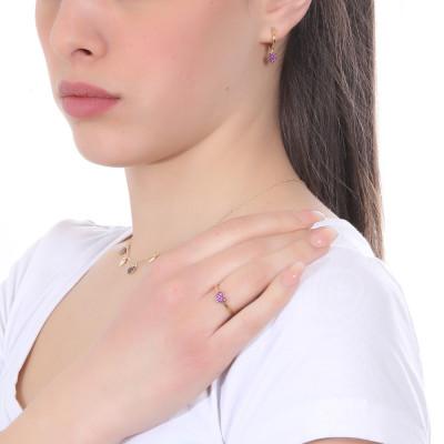 Fuchsia cubic zirconia heart earring
