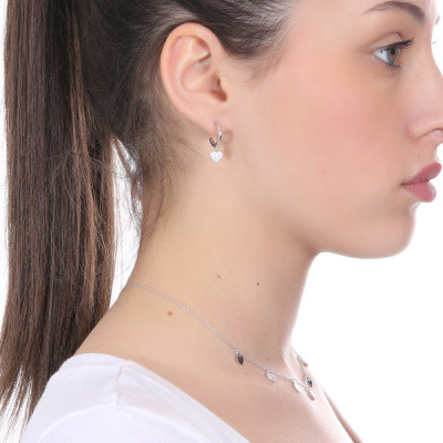 Mono crescent earring with cubic zirconia heart
