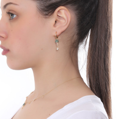Yellow gold plated half moon earring with palm and cubic zirconia heart