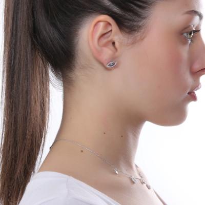 Earring with eye of Horus in zircons