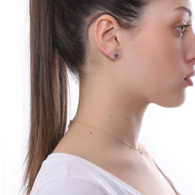 Lobe earring with celestial zirconia star