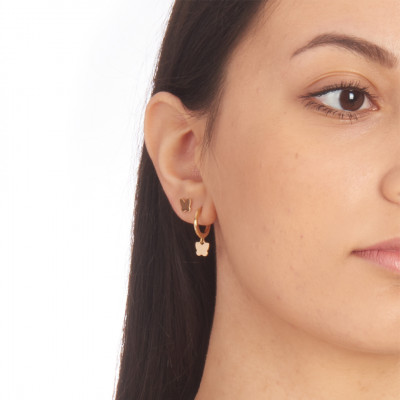 Yellow gold plated mono earring with butterfly