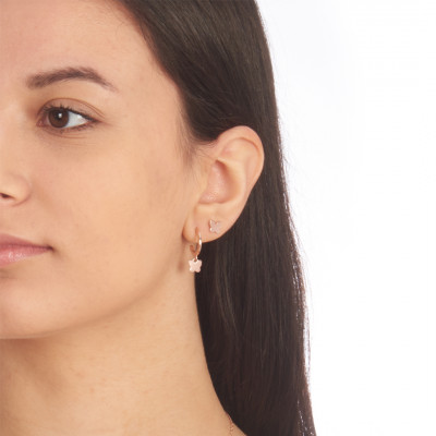 Rose gold plated mono earring with butterfly