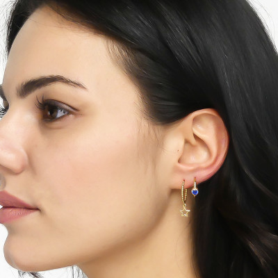 Mono earring with heart montana blue zircon