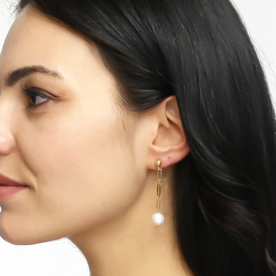Yellow gold plated earrings with natural pearl tuft