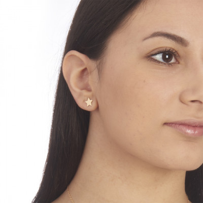Star yellow gold plated stud earrings