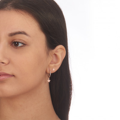 Star rose gold plated earrings