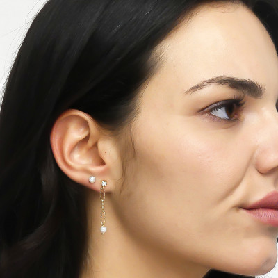 Yellow gold plated stud earrings with natural pearls