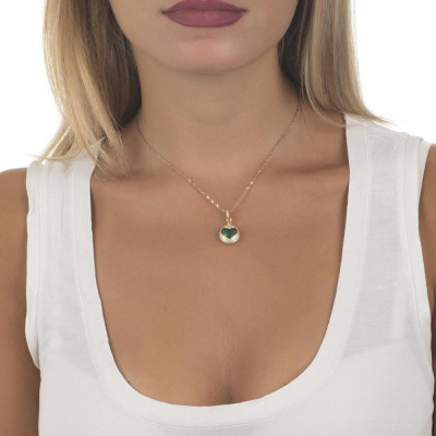 Necklace color gold with the heart of retractable zircons and crystal clear green