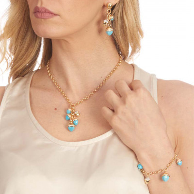 Necklace with tuft of turquoise pyramidal crystals and zircons
