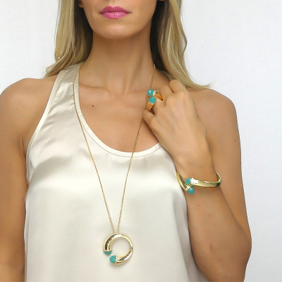 Long necklace with amazonite crystals and zircons