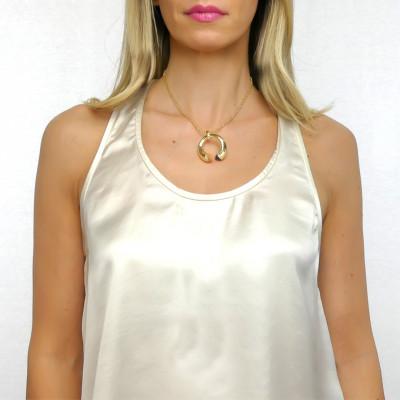 Necklace with carnelian, tanzanite and zircon crystals