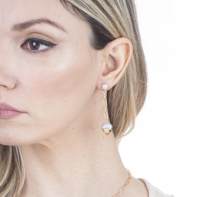 Pendant earrings with yellow gold plated pyramidal element and zircons