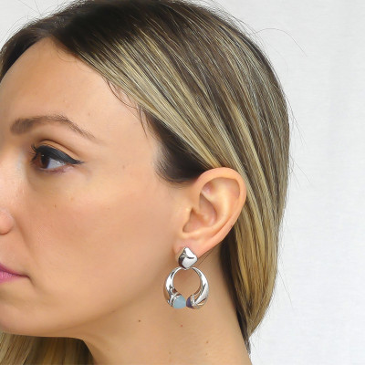 Pendant earrings with aquamilk crystals, tanzanite and zircons